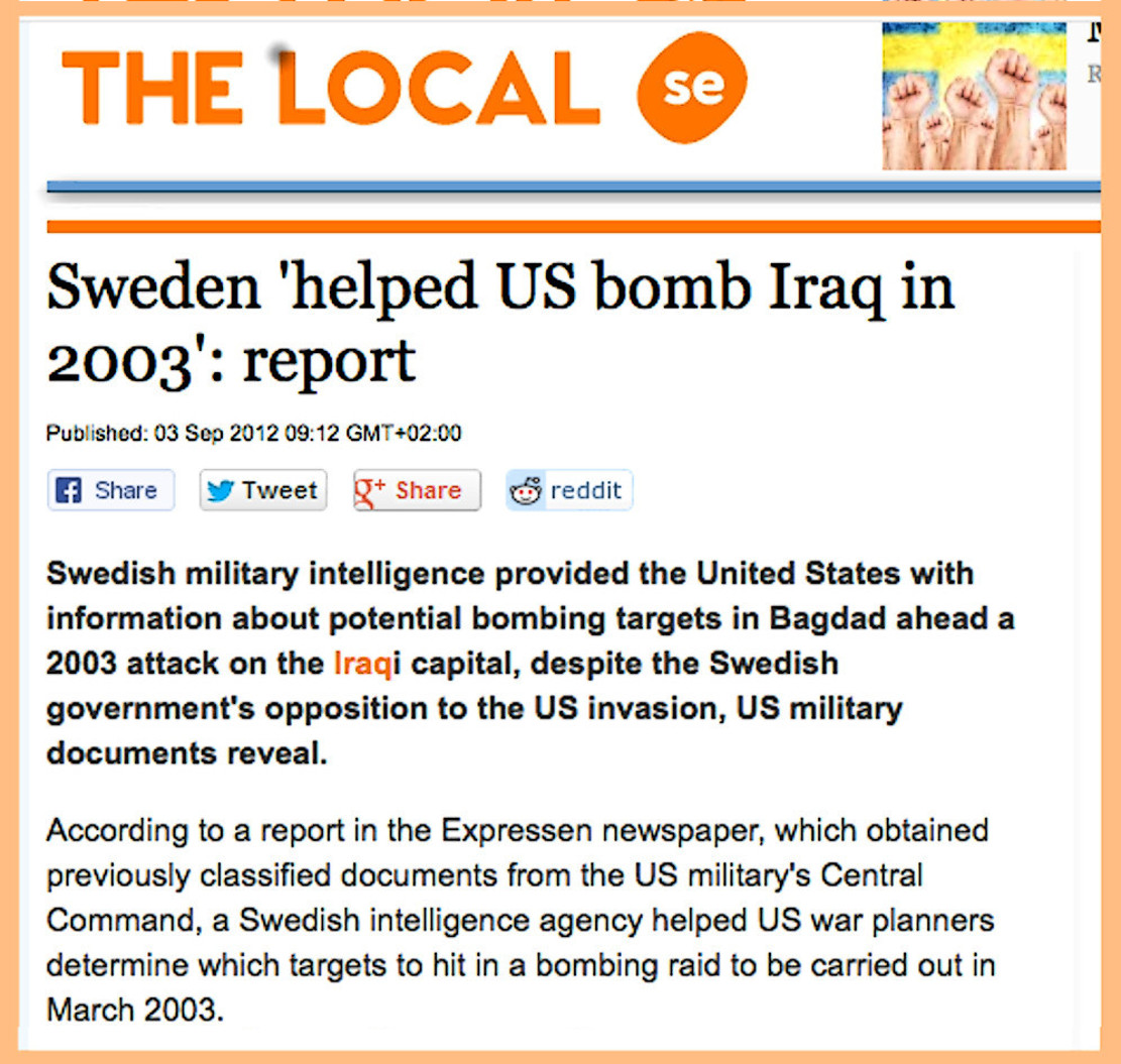 Iraq war: 'Neutral Sweden's participation in US bombing of Baghdad